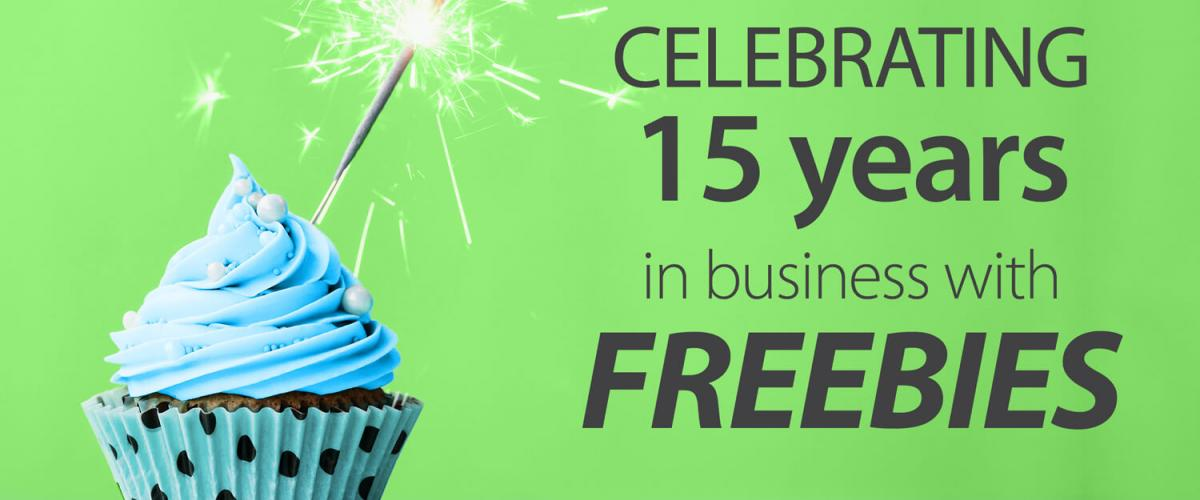 Celebrating 15 years in business with FREEBIES